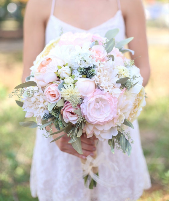 Silk Bride Bouquet Cream and Pale Pink Roses and Peonies Wildflowers ...
