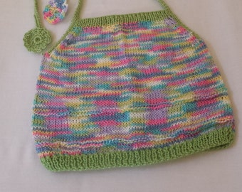 Child Size 2T Girls Knitted Summer Top / Hand Knitted Multi Colored Summer Halter Top/ Handmade Toddler Clothing