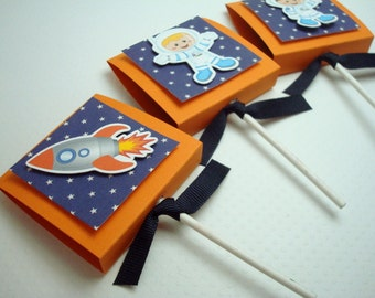Outerspace Lollipop Party Favors, Orange and Blue, Set of Ten