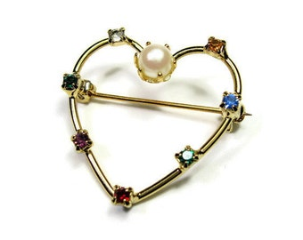 Vintage Acrostic Brooch, Vintage Jewelry, Retro Romantic Heart Jewellery, Diamond, Emerald, Amethyst, Ruby, Sapphire, Topaz, Heart Pin
