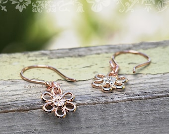 Rose Gold Daisy Dangle Earrings, Rose Gold Vermeil Wires, Rose Gold Plated Daisies, Beautiful Bohemian, Flower Power