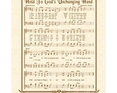 HOLD To GOD'S Unchanging Hand 8x10 Antique Hymn Art Print Natural Parchment Sepia Brown Vintage Verses Sheet Music Eternal Hope Gospel Song