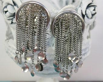 Vintage 50s Dangle Earrings Sliver Art Modern Round Moveable Tassel Earrings Clip Backs