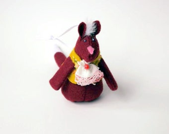 Felt Fox Christmas Ornament in Maroon, wearing a felt vest and Vintage Handkerchief ascot in Yellow with floral embroidered embellishments