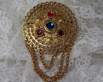 Vintage 1980s Circle Brooch Pin with Colorful Stones and Dangling Gold Chains, Multi Colored Jewelry, Estate Retro Broach