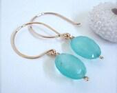 Blue Chalcedony Rose Gold Earrings, blue aqua earrings, hawaii, pink gold earrings, hoop earrings, simple elegant earrings