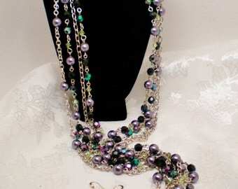 "Vintage Necklace Choker  Flapper 44"" & Earrings Set 4 Strands Ab Black Purple Gray Like Rosary Links Retro Art Deco Runway Statement"