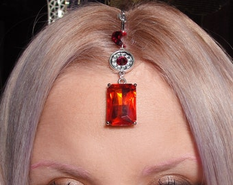 Red jewel & white crystal crescent moon 90's grunge Tikka head chain headdress
