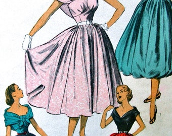 1950's  Advance Pattern 5968  * American Designer Sylvia Franklin * RARE * Camisole Blouse and Stole, Skirt for Evening * Bust 33