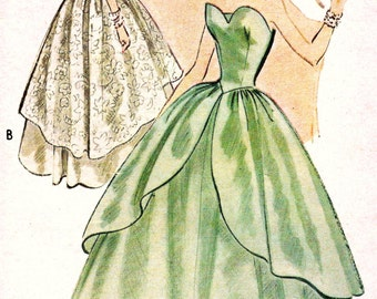 UNCUT 1950s  McCalls Pattern 8733 * GLAMOROUS Strapless Evening Dress, Ball Gown or Bridal Gown w/ Cascading Overskirt * Size 12