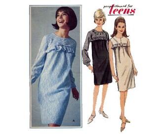 1960s Easy Dress Pattern Straight Sleeveless or Long Sleeve Yoked Shift Dress Ruffle Butterick 3741 Teen Bust 30 Vintage Sewing Pattern