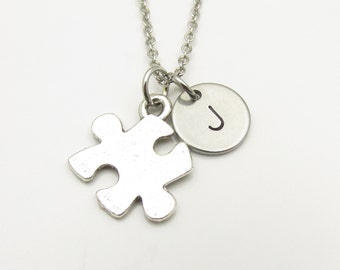 Puzzle Piece Necklace and Initial, Silver Puzzle Piece Charm, Initial Necklace, Jigsaw Puzzle, Personalized Stamped Monogram (Y067)