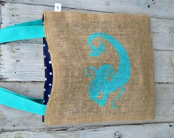 Handmade Mermaid Folded Burlap Tote Bag