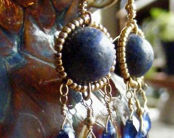 Heavenly Blue - Bead Wrapped Lapis and Kyanite Earrings
