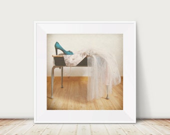 The After Party Fine Art Print--Vintage Glamour Formal Dress Lavender Turquoise Peep Toe Apartment Home Decor Wholesale
