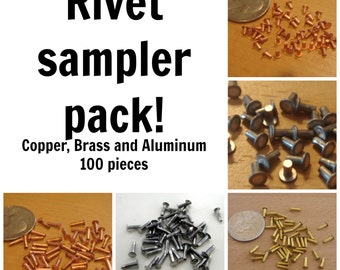 Rivet sampler pack - 100 pieces - 1/16 inch nail head rivets- copper, brass, and aluminum | cold connection rivets | leather rivets