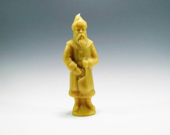 Beeswax Santa Candle with Sack, Toys and Switch Beeswax Santa cast Using an Antique Chocolate Mold Honey Scented Candle