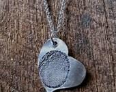 Custom Thumb Print Sterling Heart Pendant