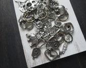 400grams metal pendants ,  links ,  charms , pendants  , metal beads , antiqued silver  Destash shop - light irregularity flaw