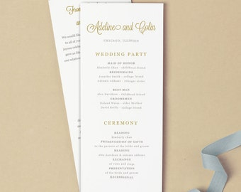 Flat Wedding Program Template | DOWNLOAD Instantly | Gold Script | Tea Length | 100% Editable | Use with Microsoft Word or Apple Pages