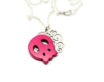 Pink Skull Necklace, Silver Filigree Necklace, Monster Necklace, Howlite Skull Necklace, Pink Sugar Skull