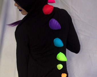 Upcycled Black Rainbow Dinosaur Hoodie- Ladies' Extra Small- Rave, Kandi, Festival, Burning Man