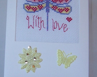 Dragonfly  Handmade Completed Cross Stitch Birthday Card,Greeting Card,Needlework Card,With Love