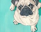 Custom Pet Portrait - 8x10 inches - Pet Portraits - Custom Portrait - Pug Art - Pug Portrait - 8x10 inch Pet Painting in Goauche