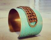 Repurposed Vintage Assemblage Bracelet - Turquoise Bracelet - One of a Kind Jewelry - Bold Statement Cuff Bracelet