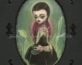 Wednesday Addams -  signed 8x10 Fine Art Print - Pop Surrealism Lowbrow art by KarolinFelix - open edition, unframed