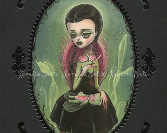 Wednesday Addams -  signed 8x10 Fine Art Print - Pop Surrealism Lowbrow art by KarolinFelix - open edition, unframed