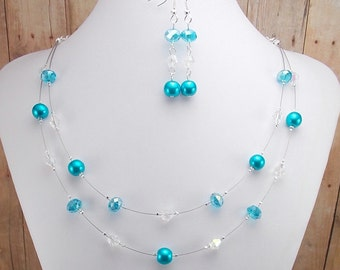 Aqua Blue Necklace and Earring Set - Double Strand Glass Pearl - Turquoise