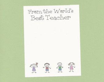 Stick Kids Teacher Note Pads or Papers - Your NAME or CUSTOM TEXT - Teacher Appreciation Gifts, Teacher Birthday Gifts, World's Best Teacher
