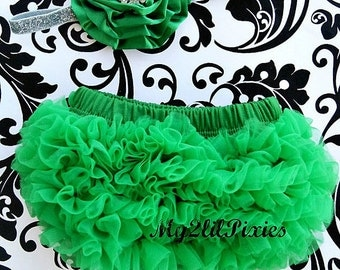 Bloomers and Headband set-BABY BLOOMER and headband-Baby Bloomer, Chiffon Bloomer,Baby Headband,Green Bloomer, Baby bloomers. Diaper cover