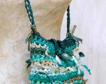 Woodland Fairy Bag, Eco Friendly Green Purse, Fabric Scraps Gypsy Crochet Handbag, Photography Prop, Tagt