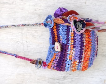Gypsy fairy bag, purple orange eco friendly rag purse, fabric scraps bag with flowers and leaves, Tagt