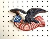 Cast Iron US Eagle + Flag Shield