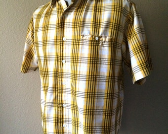 Vintage Men's 80's Shirt, Yellow, White, Cotton, Plaid, Button Up, Short Sleeve by No Boundaries (L)