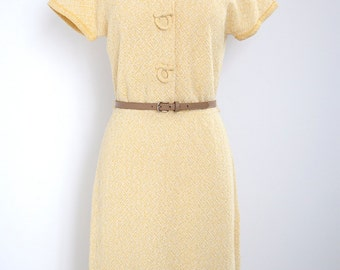 1970's Yellow Transitional Knit Dress - S/M