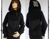 SALE!!! OOAK New Chlorice Lace and black on cream with lace overlay unique hood Hoodie size XL/1X
