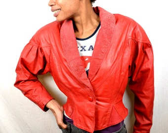 Vintage 80s Chia Cropped Red Rocker Leather Jacket