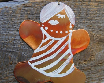 Ginger Girl, Copper, Ornament, Hipster, Christmas, College, Gift Tag, Folk Art, Hostess Gift,  Kitchen Decor, Gingerbread, Girlfriend