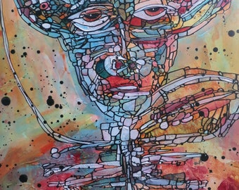 Mixed Media Original Modern Artwork Abstract  Figure Creature