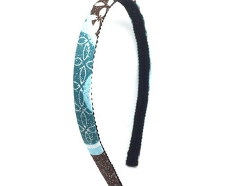 Skinny Headband - Abstract Flowers, Swirls and Glitter in Chocolate Brown, Teal, Light Blue and White - Little Girl Headband, Adult Headband