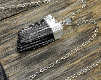 Tourmaline Necklace, Tourmaline Pendant,Tourmaline Silver Necklace,Black Tourmaline Necklace,Black Tourmaline Pendant, Sterling Silver Chain