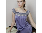 stretch silk chemise with cotton embroidered lace trim and cap sleeves - made to order
