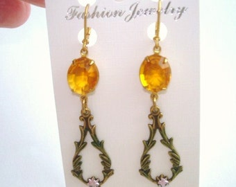 Topaz Glass Stone Dangle Earrings