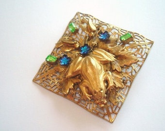 Frog Flower  Leaf Rhinestone Vintage Jewelry  Animal Brooch Gold Tone