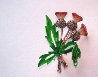 Thistle  Vintage Jewelry Flower  Brooch Multi Tone