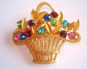 Signed Monet Flower Basket  Multi Color Rhinestone Gold Tone Brooch